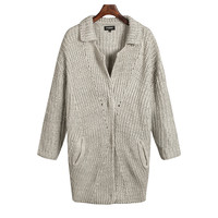 Gray Long-Sleeve Collar Button Knitted Cardigan