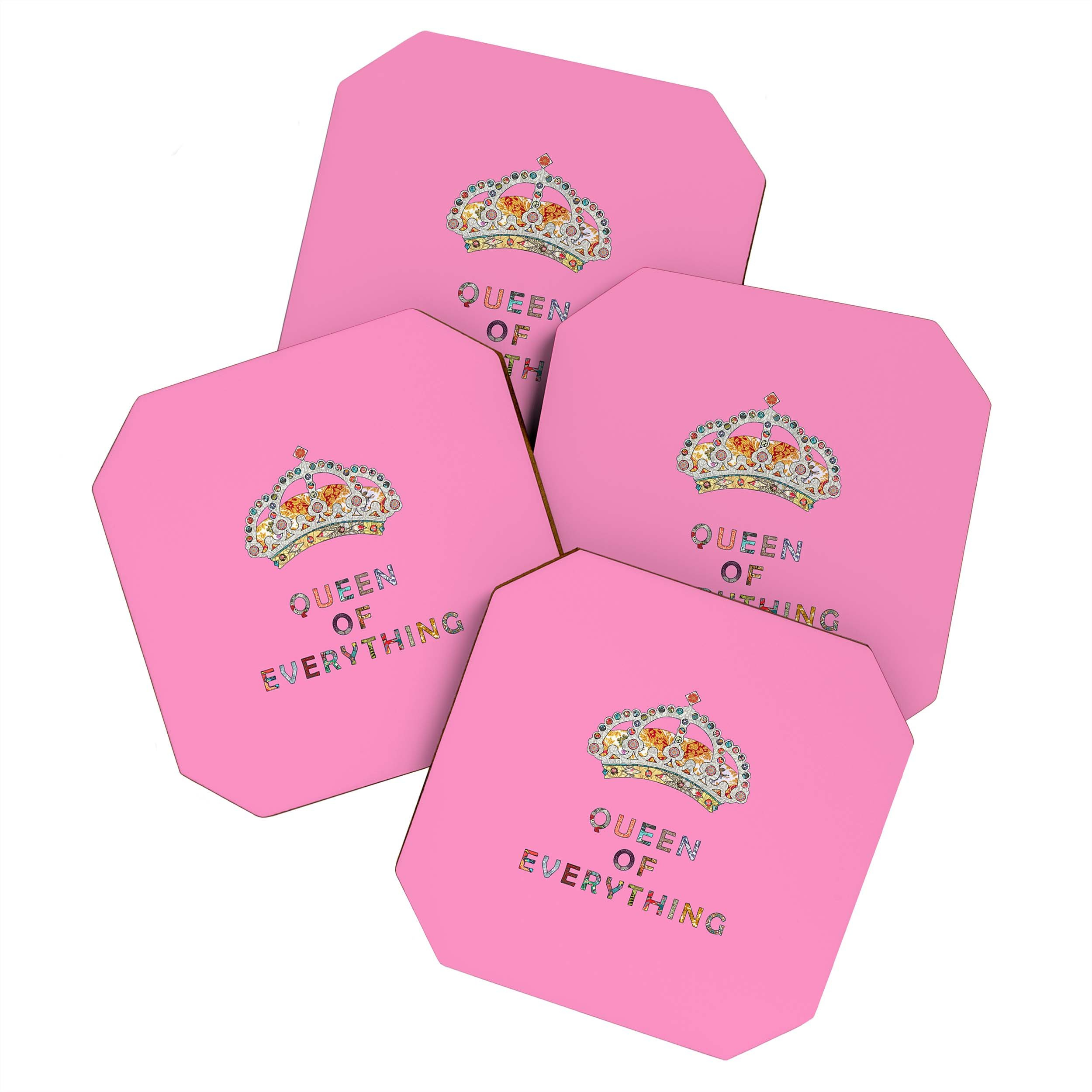 Image of Bianca Green Queen Of Everything Pink Coaster Set