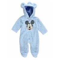 Disney Disney Mickey Mouse Infant Boys Blue Faux Shearling Snowsuit Baby Pram 3-6m