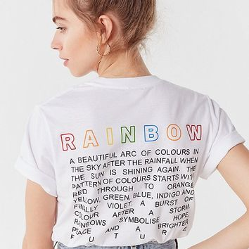 UO Embroidered Rainbow Tee | Urban Outfitters