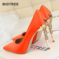 BIGTREE Metal Carved Women Shoes Sexy High Heels Solid Silk Women Pumps Shallow High Heels Shoes 10cm Wedding Shoes