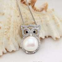 Sterling Silver Pearl Owl Necklace