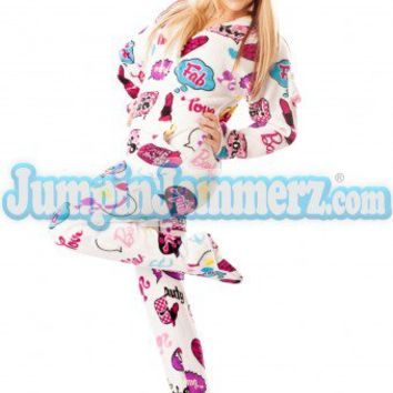 Barbie - OMG - Barbie Footed Pajamas - Pajamas Footie PJs Onesuits One Piece Adult Pajamas - JumpinJammerz.com