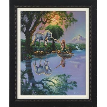 The Mermaid and The Unicorn - Limited Edition Giclee on Canvas by Jim Warren