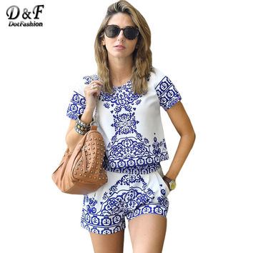 Dotfashion Women's Summer 2016 Blue and White Printed Short Sleeve O Neck Casual Crop Top With Sexy Shorts Two Piece Set