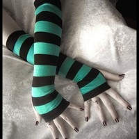 Rain's Embrace Arm Warmers  Teal & Black Stripes  by ZenAndCoffee