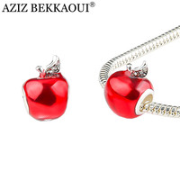 Fashion Women Jewelry Diy Accessories Crystal Charms Making Bracelet Cute Red Apple Enamel Beads Fit Pandora Bracelet Necklace