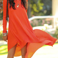 Orange Long Sleeve Midi Dress