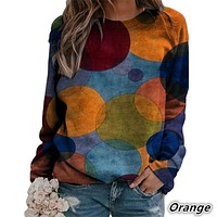 fhotwinter19 hot sale loose polka dot print pullover round neck long-sleeved blouse
