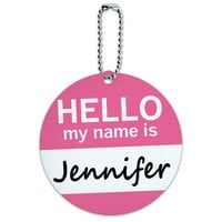 Jennifer Hello My Name Is Round ID Card Luggage Tag