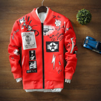Autumn and winter with the new section of baseball clothing jacket GD jacket sweater trend of space cotton printing men Red