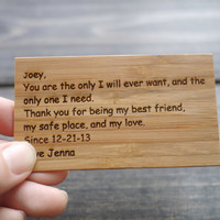 Wallet Card , Wallet Insert Card , Engraved Card, Anniversary Gift for Dad, Mom & Wife, Husband, Boyfriend, Girlfriend, Friends