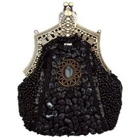 MG Collection Black Antique Victorian Brooch Beaded Clasp Clutch Evening Purse
