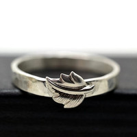 Engravable Leaf Ring, Fall Jewelry, Custom Engraving, Nature Ring, Autumn Leaf Jewelry, Handforged Silver Ring