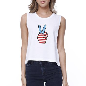 Peace American Flag Cute Peace Sign Graphic Crop Top For Women
