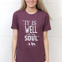 It is Well with My Soul S/L Tee {Heather Maroon}