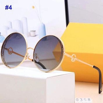 Vogew FENDI fashion hit for couples with printed lettered beach sunglasses and glasses