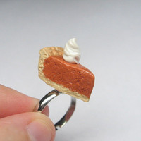 Pumpkin Pie Adjustable Ring, polymer clay jewelry, Made to Order