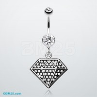 Urban Diamond Bling Belly Button Ring