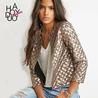 Haoduoyi Lozenge Women Gold Sequins Jackets Three quater sleeve Fashion Coats Outwears