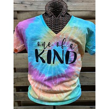 Southern Chics Apparel One of a Kind Tie Dye Canvas V-Neck Girlie Bright T Shirt