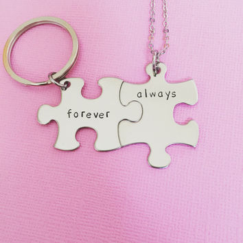 Always Forever necklace keychain set, couples gift, forever keychain, always necklace , Anniversary Gift