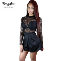 Sheer Lace One Piece Long Sleeve Jumpsuit Romper  Short Sexy Black Rompers For Sexy Club Jumpsuits Overalls SM6