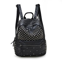 Rivet Solid Pu Backpacks Women Y-1111