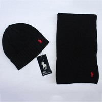 POLO New fashion winter knit wool scarf cap couple keep warm hat Black