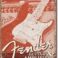 Fender Guitars & Amplifiers Tin Sign | Retro | Music Decor | A Simpler Time | A Simpler Time