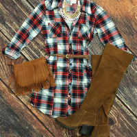You Plaid me at Hello Belted Tunic: RWB
