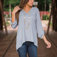 Pleasing You Is Easy Blouse, Light Gray