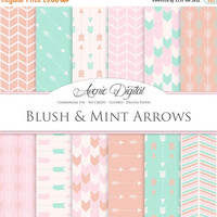 50% OFF Blush and Mint Arrows Digital Paper. Scrapbook Backgrounds. Coral peach patterns for Commercial Use. arrow, chevron clipart Instant
