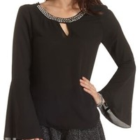 Embellished Bell Sleeve Chiffon Top by Charlotte Russe - Black
