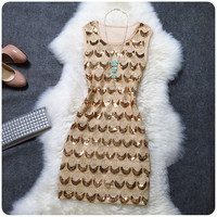Fashion style embroidered with sequins dress JGh