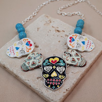 Sugar Skull Hand Painted Charms Turquoise Bead Necklace and Earrings