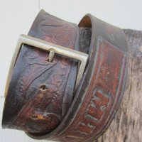 "70s Tooled Western Leather Belt Name ""Mike"", W34 W36 W38 / 88-97 cm // Brown Cowboy Belt // Name Belt"