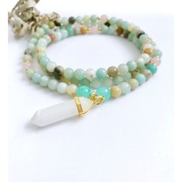 Amazonite Mala Necklace for Balance | Mala Beads | Amazonite Beaded Necklace