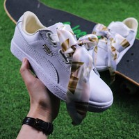 Best Online Sale Puma Suede Heart Trainer Shoes White Gold Casual Shoes Low-Top Sneakers
