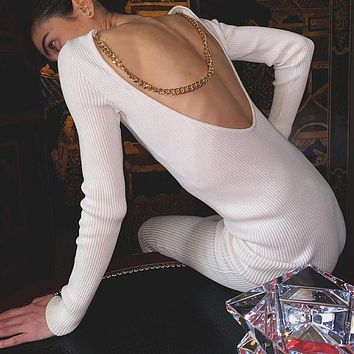 New sexy chain halter long-sleeved dress with buttocks small black dress