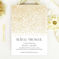 Starry Bridal Shower Invitation - Gold stars modern simple bridal shower invitation printed on luxury pearlescent paper