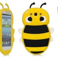 iSee Case Cartoon Bumble Bee Silicone Full Cover Case SAMSUNG GALAXY S III 3 S3 Free iSeeCase Stylus (S3-Bee Yellow+Stylus)