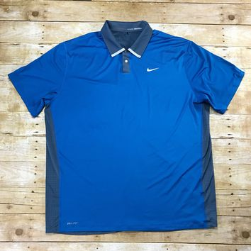 Nike Tiger Woods Golf Collection Dri-Fit Blue / Gray Golfing Polo Shirt Mens Size XXL