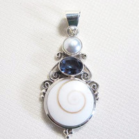Multi- Stone  and Shell and Silver Pendant