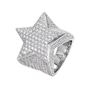 Men's Sterling Silver 3D Star Iced Out Ring
