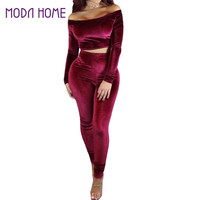 Sexy Velvet Tracksuits Women Off Shoulder 2 Two Piece Outfits Set Long Sleeve Chandal Mujer Completo Bodycon Crop Top And Pants