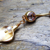 Gold Calla Lily Bellybutton Ring Belly Button Jewelry Body Jewelry Bellybutton Jewelry Belly Navel Ring Piercing