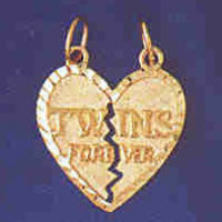 14K GOLD SAYING CHARM - TWINS FOREVER #9933