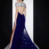 BEAUTIFUL OPEN BACK MID NIGHT BLUE VELVET PROM DRESS OPTIONAL MATCHING SHOES AVAILABLE