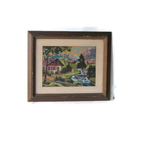 Landscape wall art. Vintage embroidery. Embroidery wall art. Framed embroidery. Needlepoint vintage. Framed needlepoint. Vintage wood frame.
